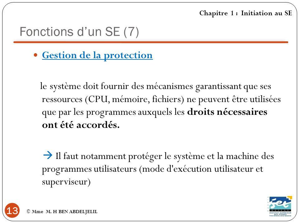 Fonctions d'un SE (7) Gestion de la protection