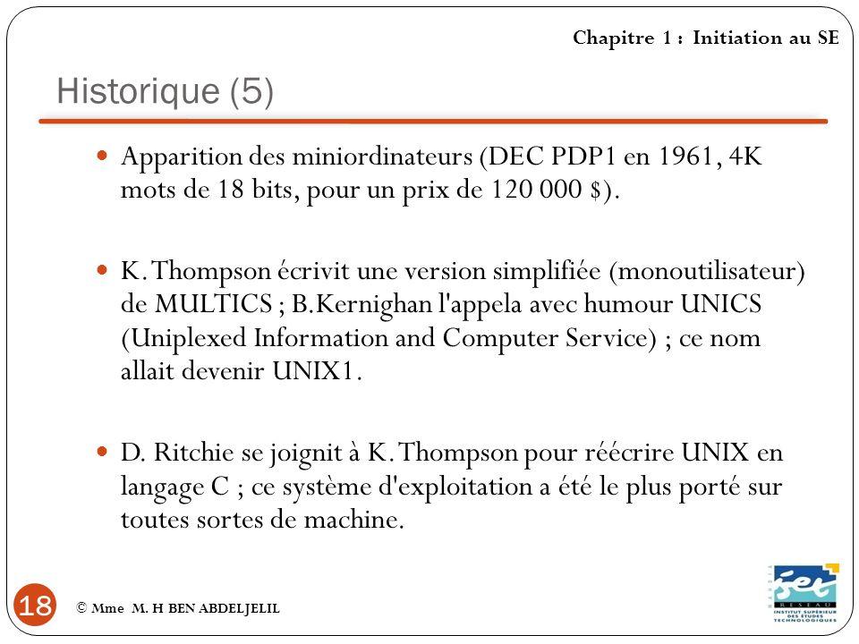 Historique (5) Chapitre 1 : Initiation au SE. Apparition des miniordinateurs (DEC PDP1 en 1961, 4K mots de 18 bits, pour un prix de 120 000 $).