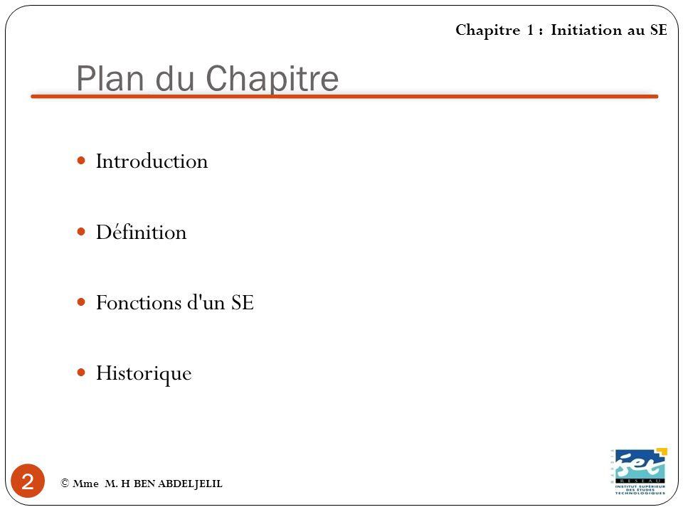 Plan du Chapitre Introduction Définition Fonctions d un SE Historique