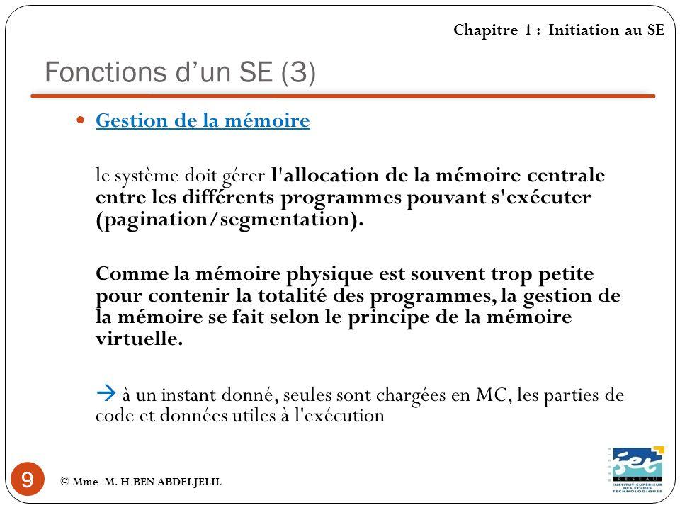 Fonctions d'un SE (3) Gestion de la mémoire