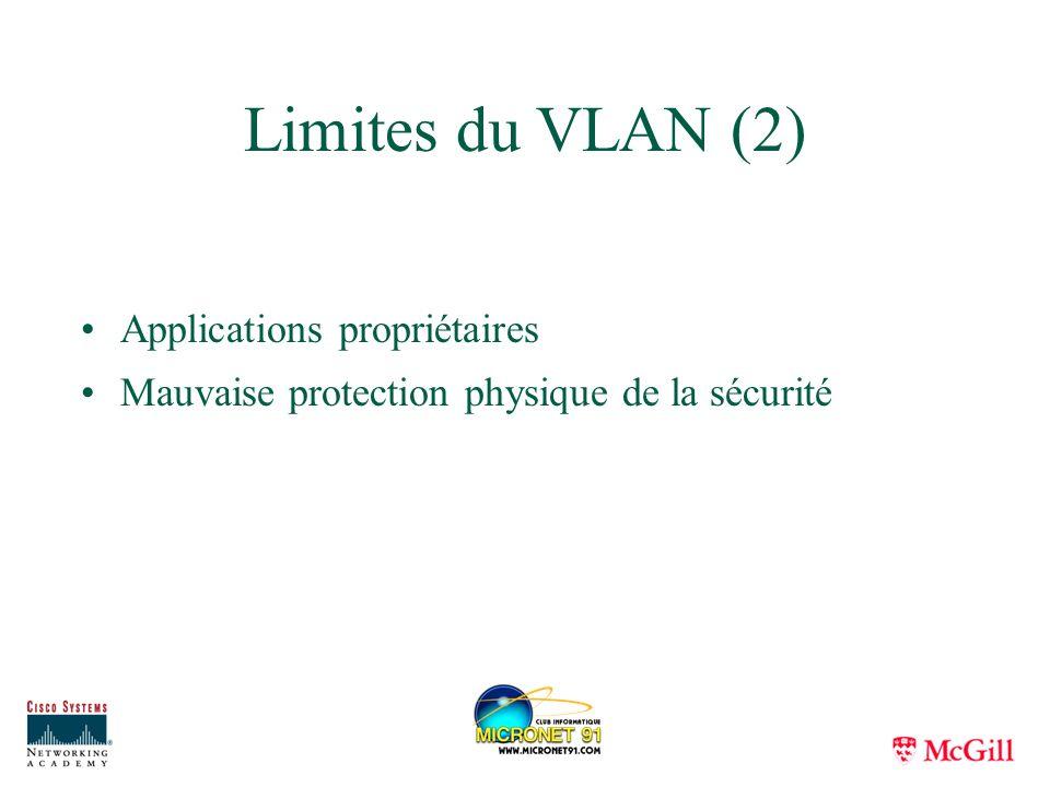 Limites du VLAN (2) Applications propriétaires