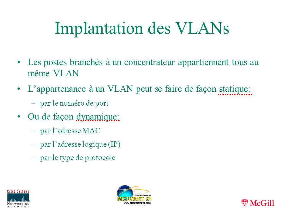 Implantation des VLANs