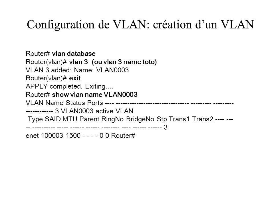 Configuration de VLAN: création d'un VLAN