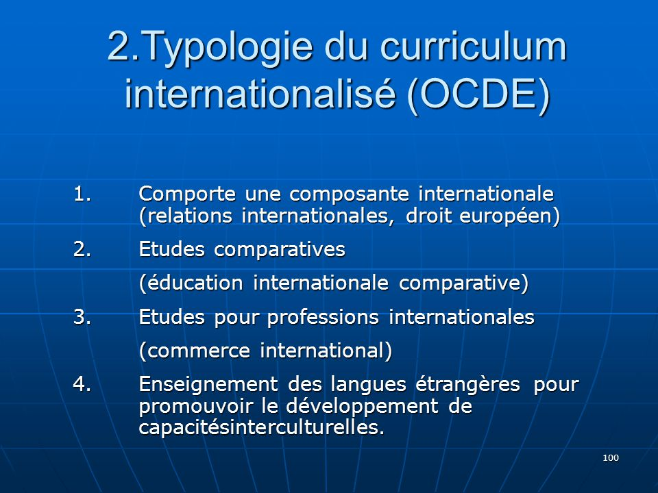 2.Typologie du curriculum internationalisé (OCDE)