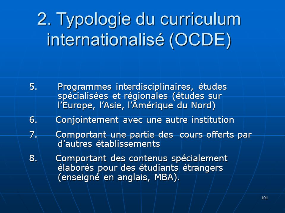2. Typologie du curriculum internationalisé (OCDE)