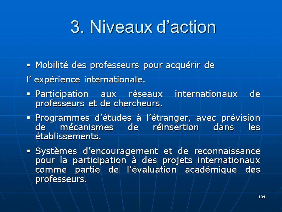 3. Niveaux d'action Mobilité des professeurs pour acquérir de
