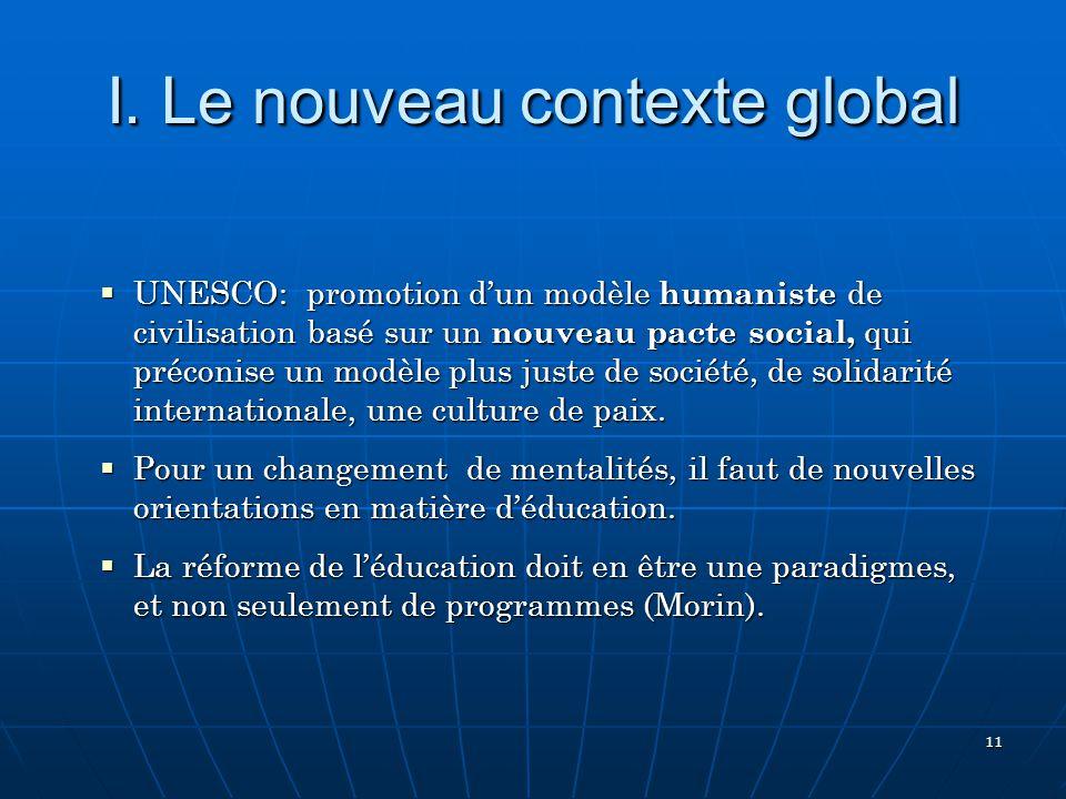 I. Le nouveau contexte global