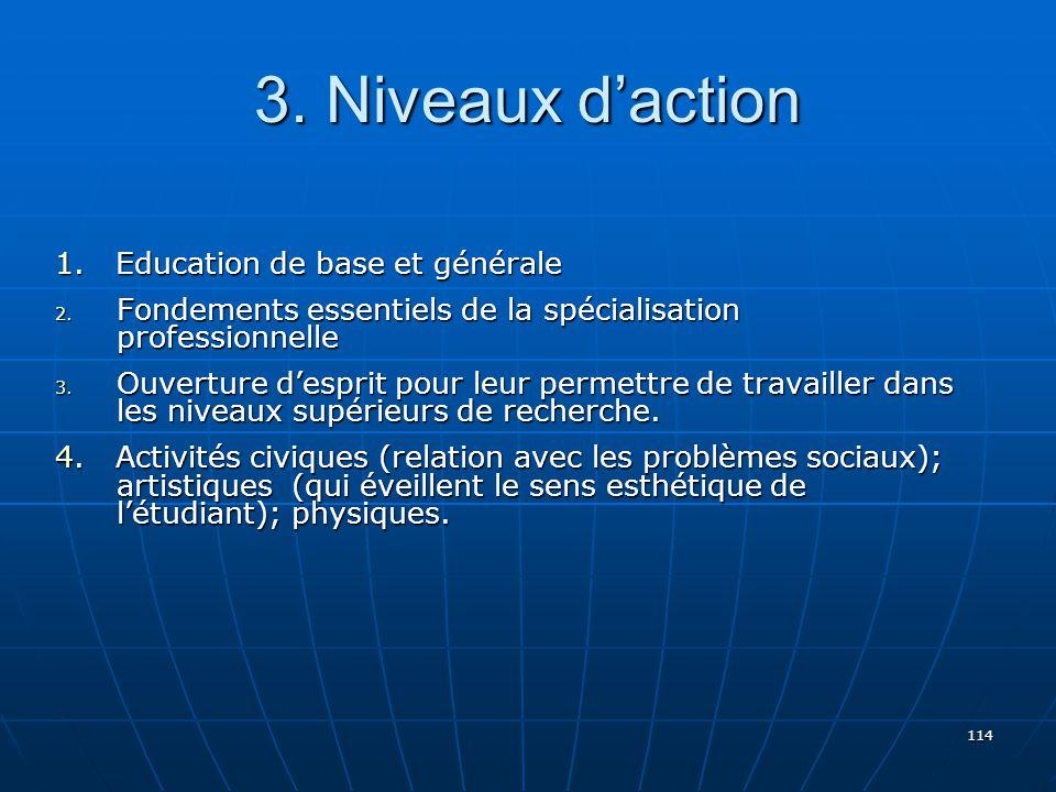 3. Niveaux d'action 1. Education de base et générale