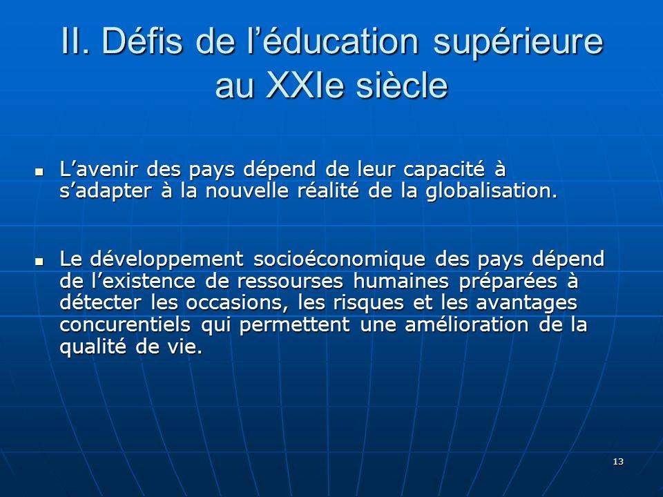 II. Défis de l'éducation supérieure au XXIe siècle