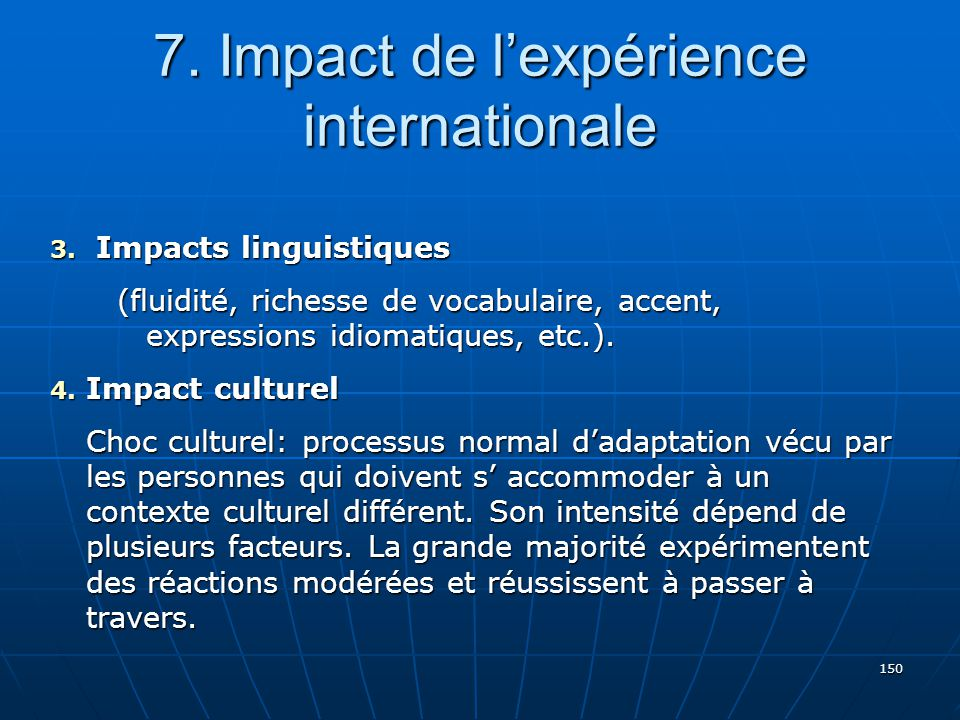 7. Impact de l'expérience internationale