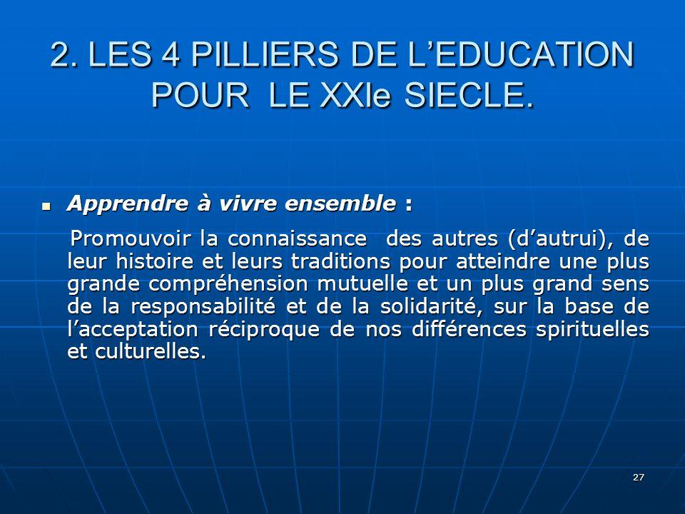2. LES 4 PILLIERS DE L'EDUCATION POUR LE XXIe SIECLE.