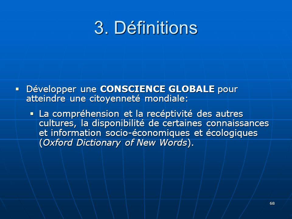 3. Définitions Développer une CONSCIENCE GLOBALE pour atteindre une citoyenneté mondiale: