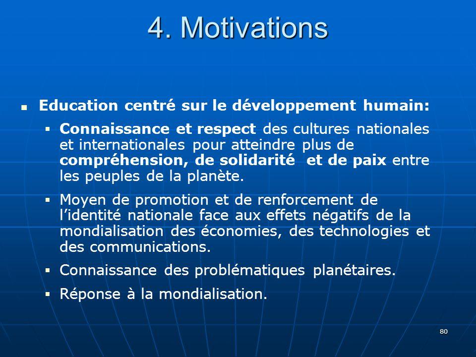 4. Motivations Education centré sur le développement humain: