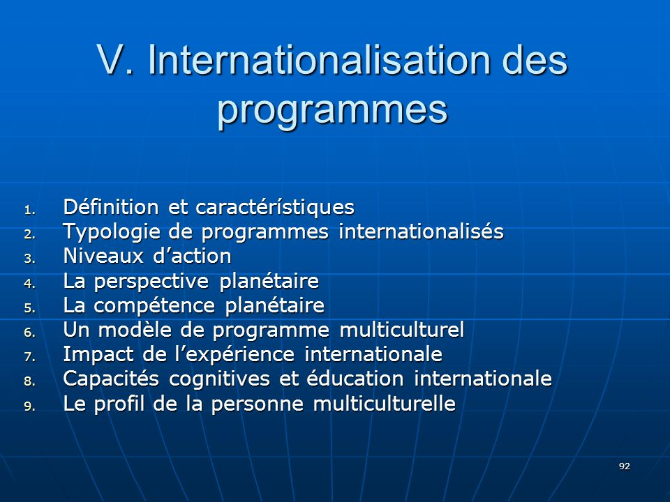 V. Internationalisation des programmes