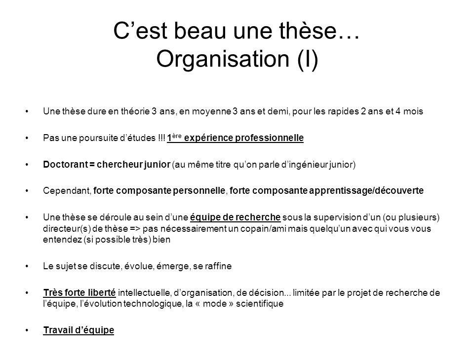 C'est beau une thèse… Organisation (I)