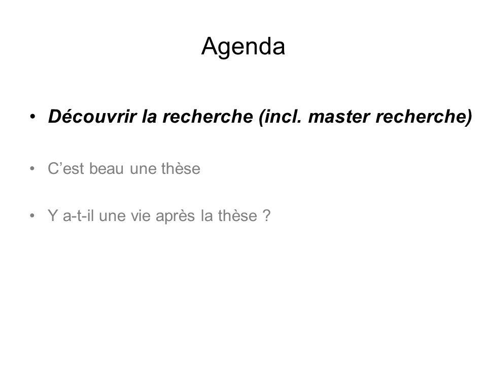 Agenda Découvrir la recherche (incl. master recherche)