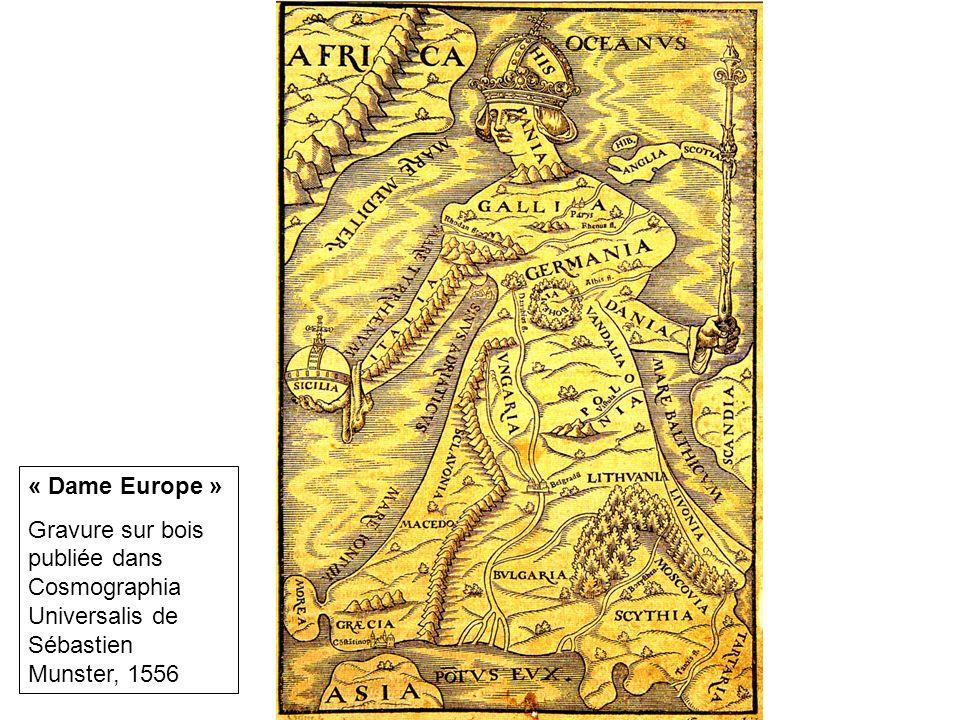 « Dame Europe » Gravure sur bois publiée dans Cosmographia Universalis de Sébastien Munster, 1556