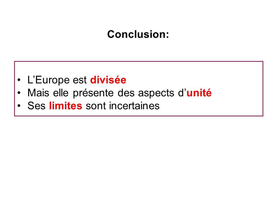 Conclusion: L'Europe est divisée. Mais elle présente des aspects d'unité.