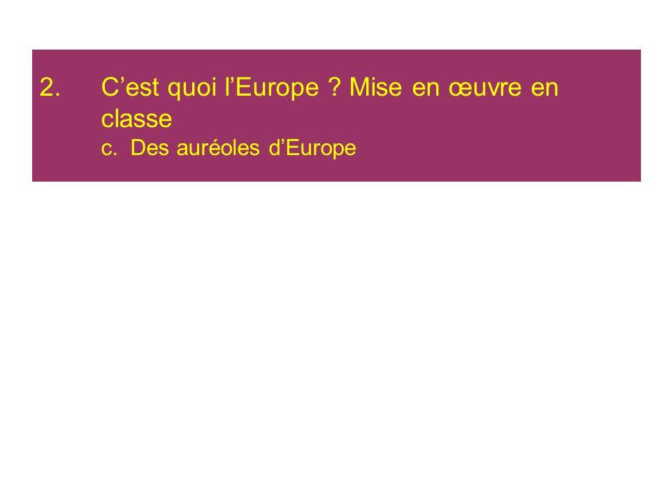 C'est quoi l'Europe Mise en œuvre en classe c. Des auréoles d'Europe