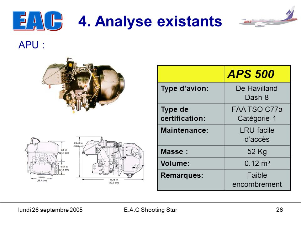 4. Analyse existants APS 500 APU : Type d'avion: De Havilland Dash 8