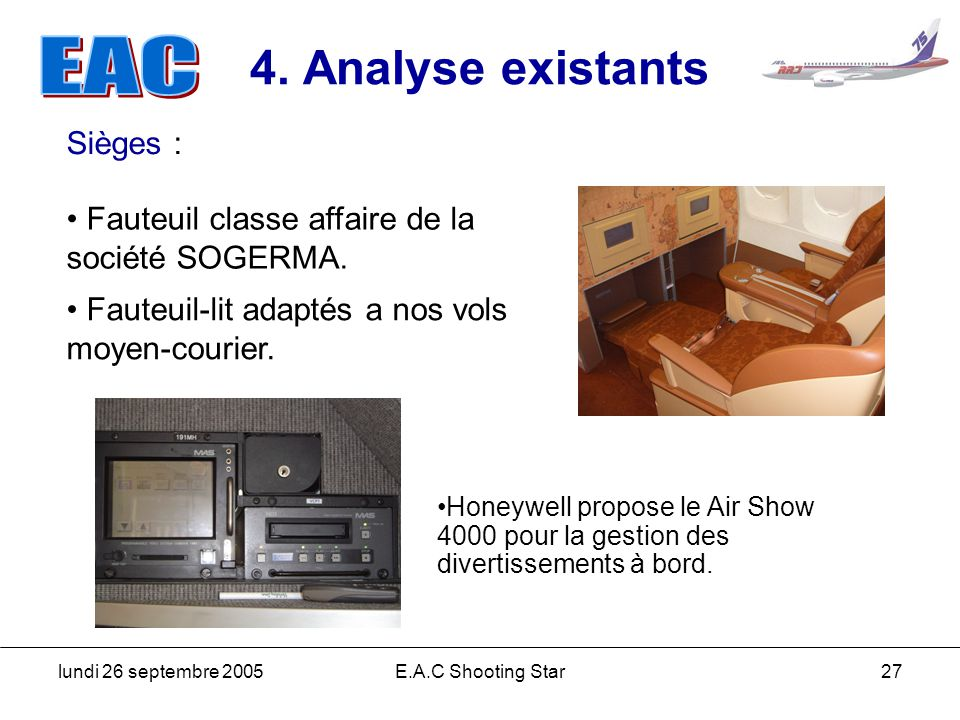 4. Analyse existants Sièges :