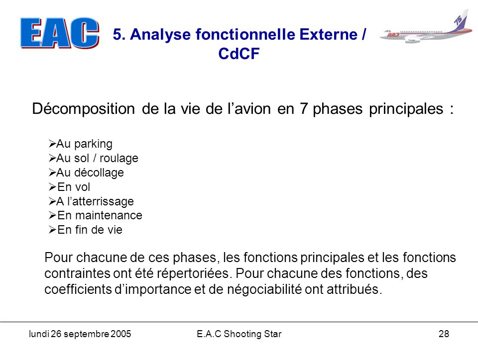 5. Analyse fonctionnelle Externe / CdCF