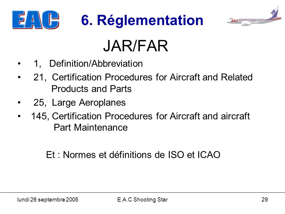 JAR/FAR 6. Réglementation 1, Definition/Abbreviation