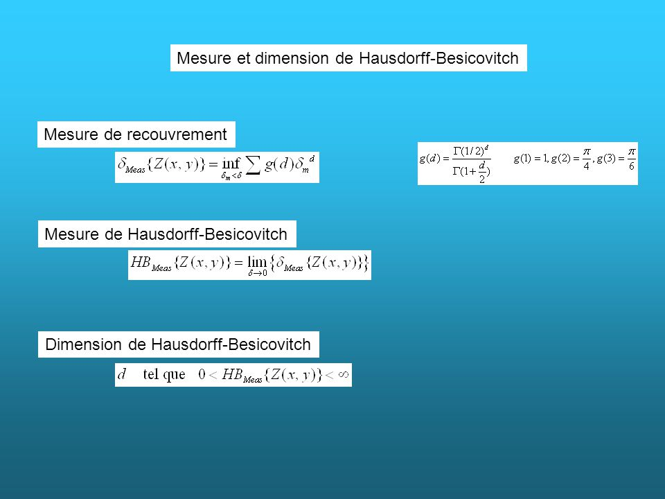 Mesure et dimension de Hausdorff-Besicovitch