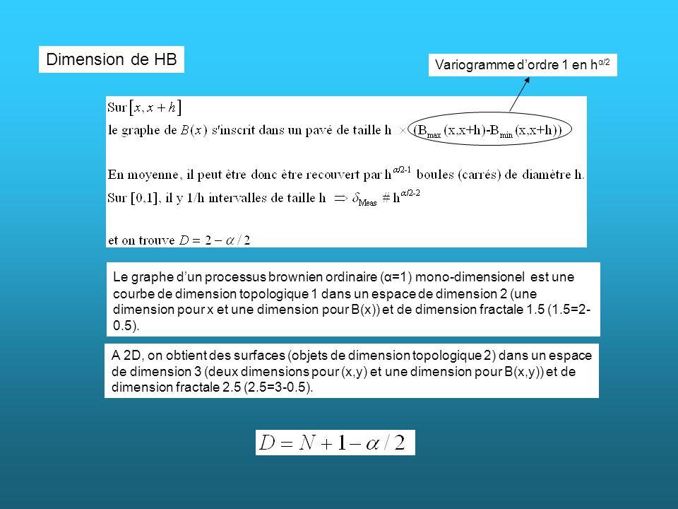 Dimension de HB Variogramme d'ordre 1 en hα/2