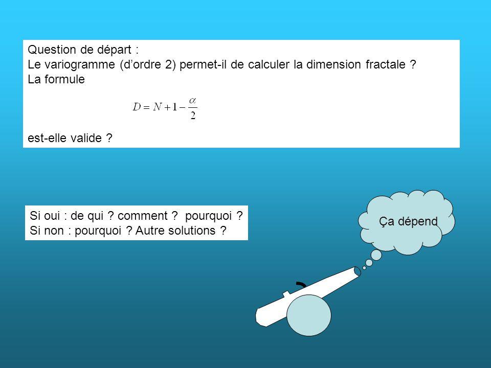 Question de départ : Le variogramme (d'ordre 2) permet-il de calculer la dimension fractale La formule.