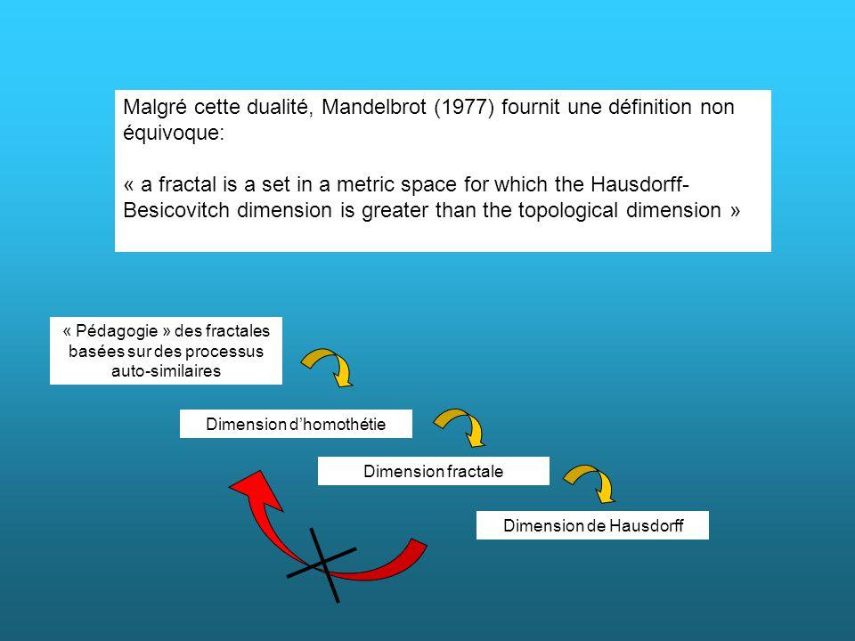 Malgré cette dualité, Mandelbrot (1977) fournit une définition non équivoque: