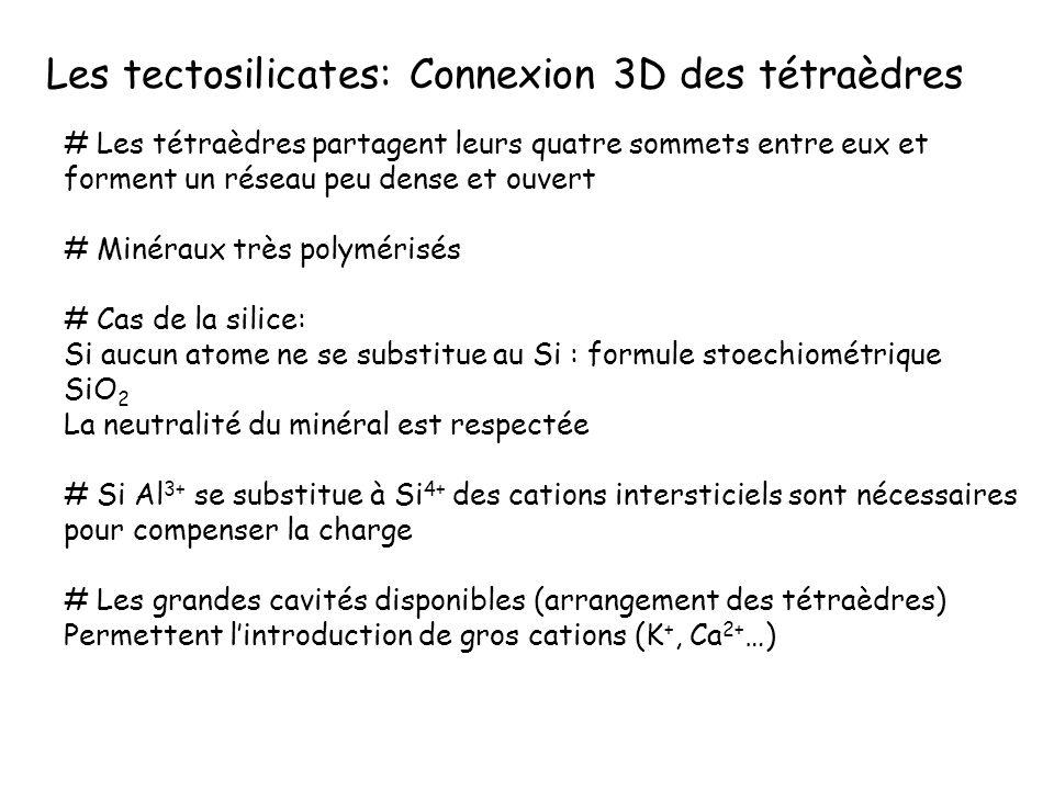 Les tectosilicates: Connexion 3D des tétraèdres