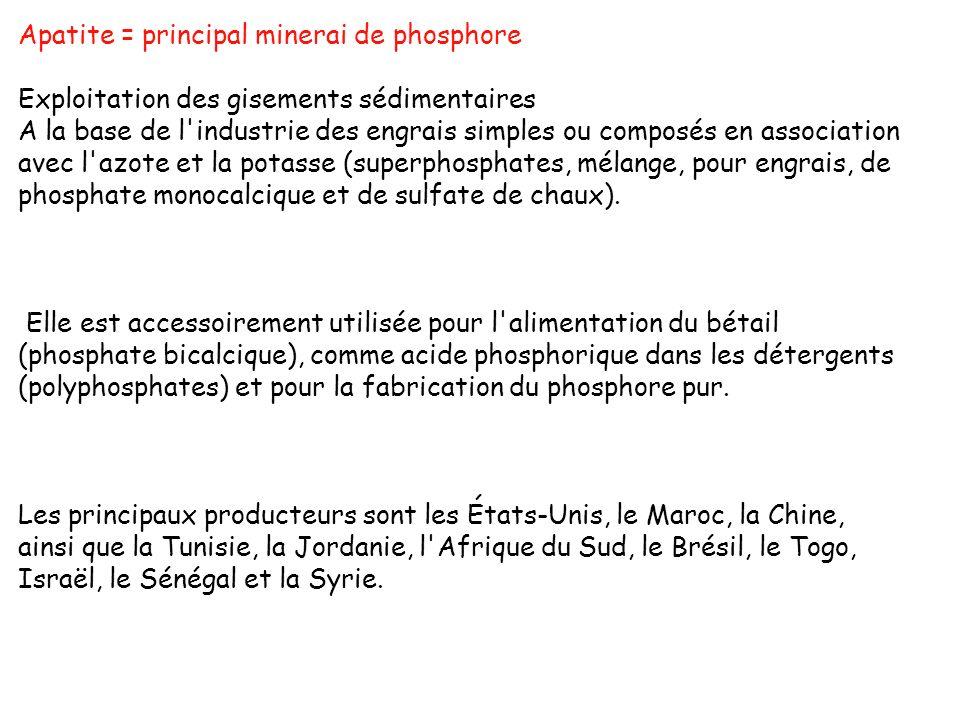 Apatite = principal minerai de phosphore