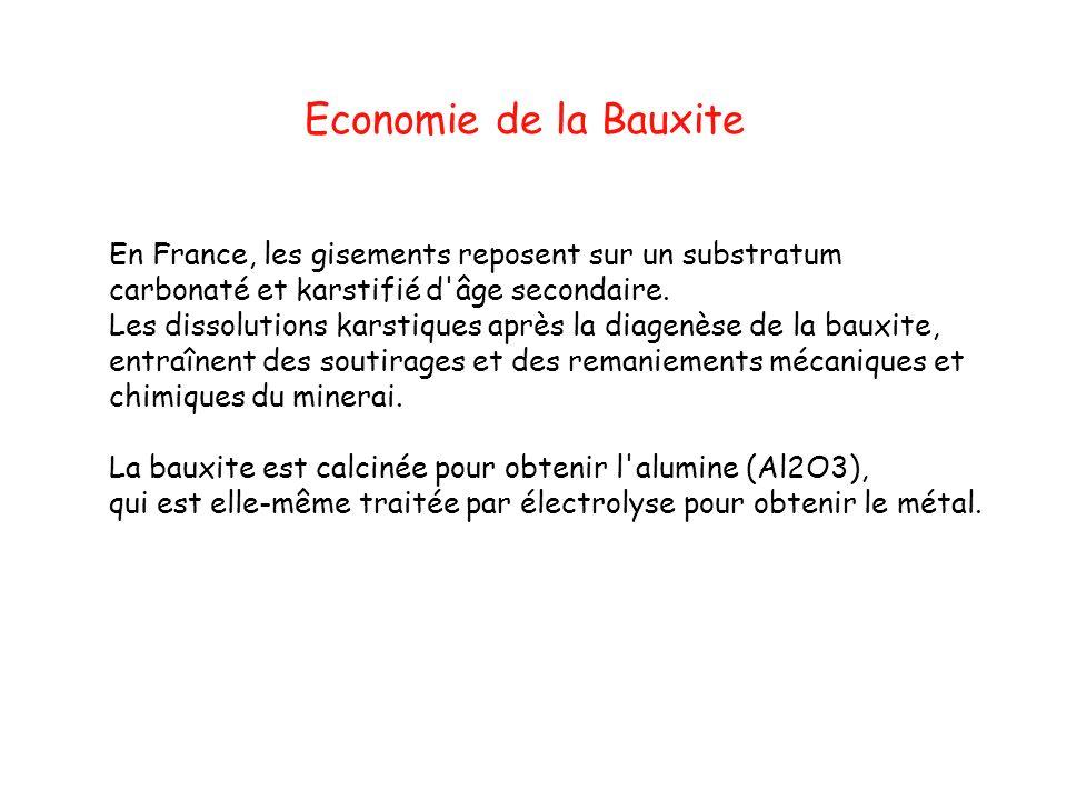 Economie de la Bauxite En France, les gisements reposent sur un substratum. carbonaté et karstifié d âge secondaire.