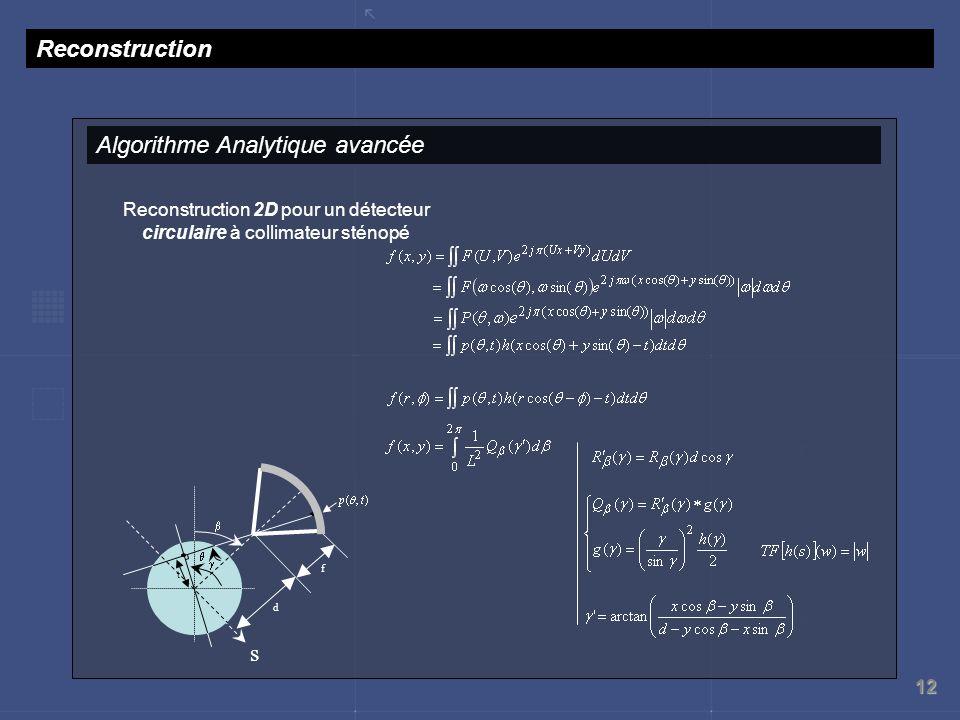 Reconstruction 2D pour un détecteur circulaire à collimateur sténopé