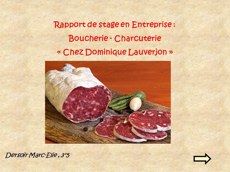 Rapport de stage en Entreprise : Boucherie - Charcuterie