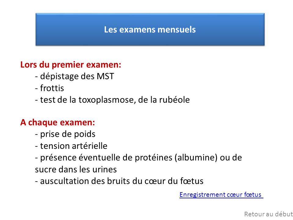 Lors du premier examen: dépistage des MST frottis
