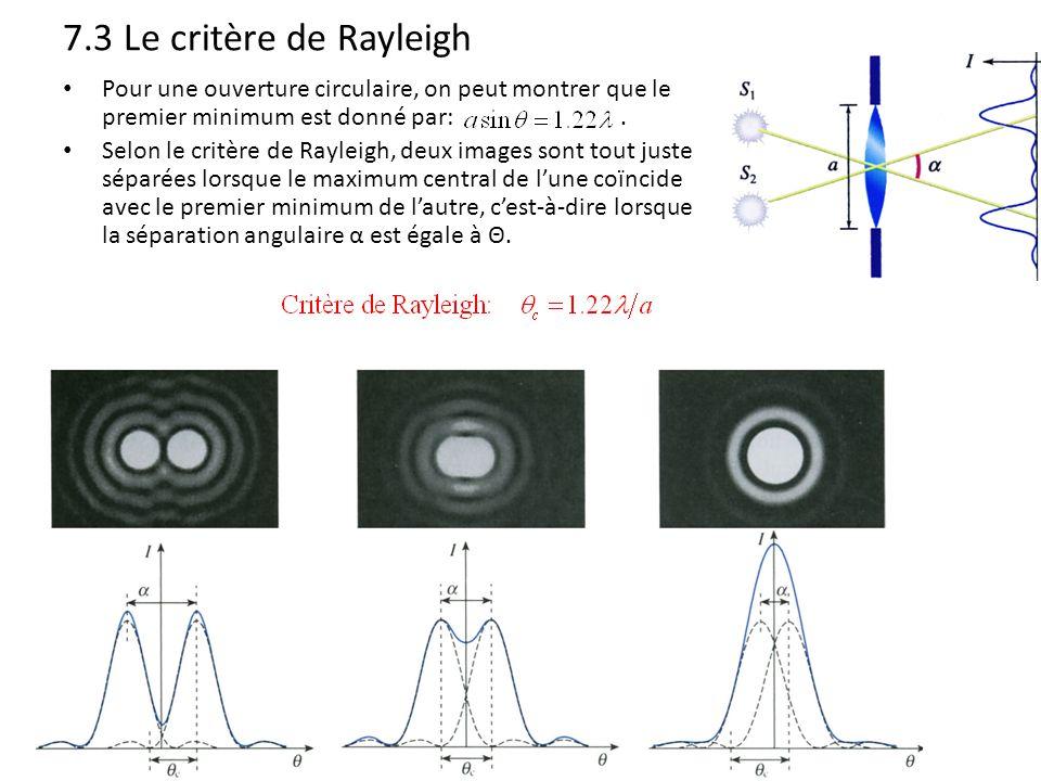 7.3 Le critère de Rayleigh Pour une ouverture circulaire, on peut montrer que le premier minimum est donné par: .