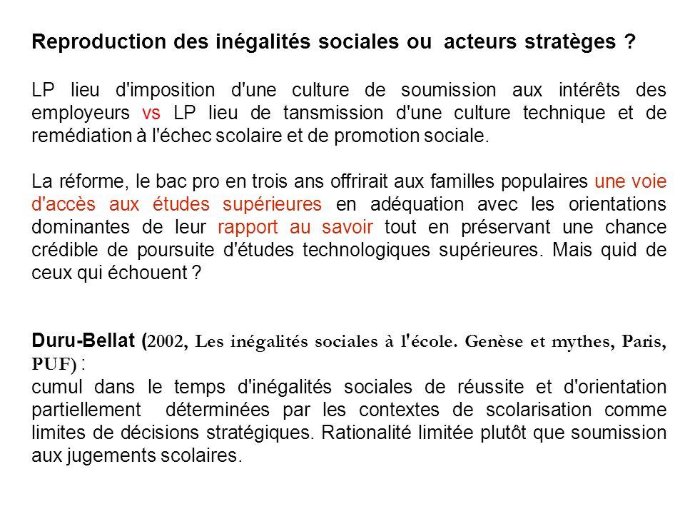 Reproduction des inégalités sociales ou acteurs stratèges