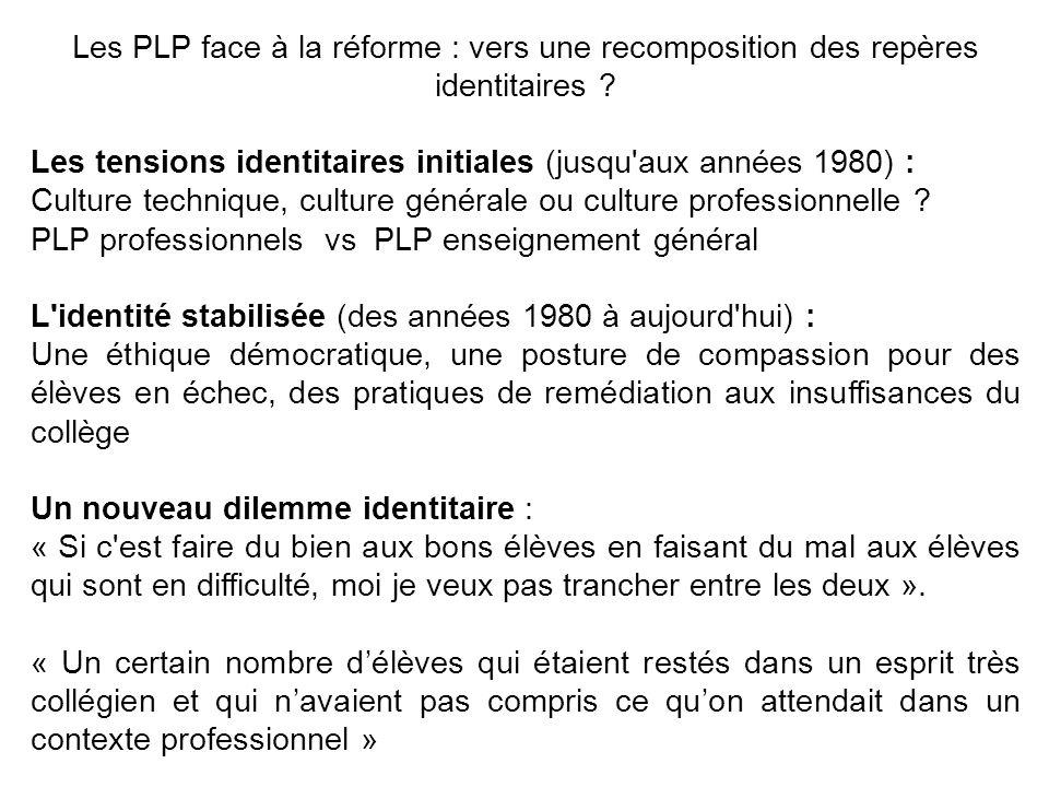 Les PLP face à la réforme : vers une recomposition des repères identitaires