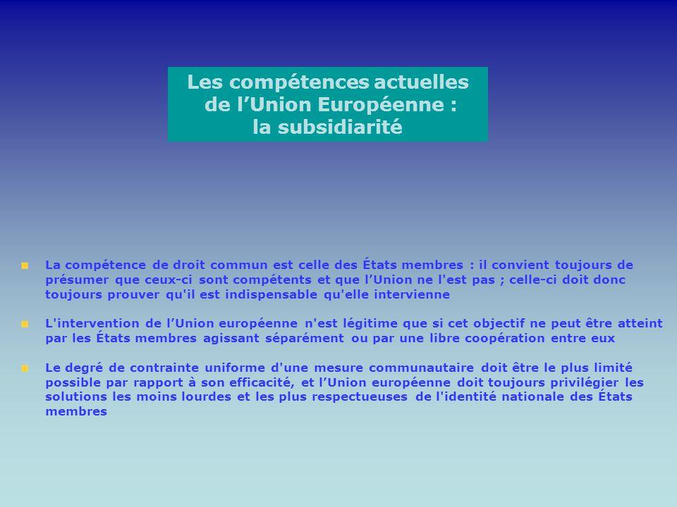 Les compétences actuelles de l'Union Européenne : la subsidiarité