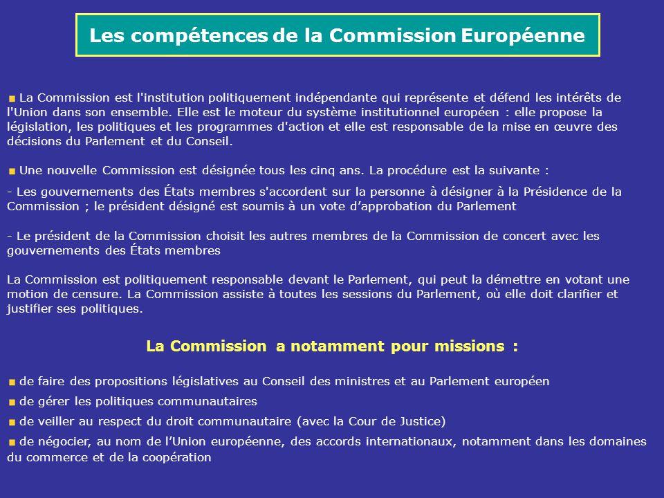 Les compétences de la Commission Européenne