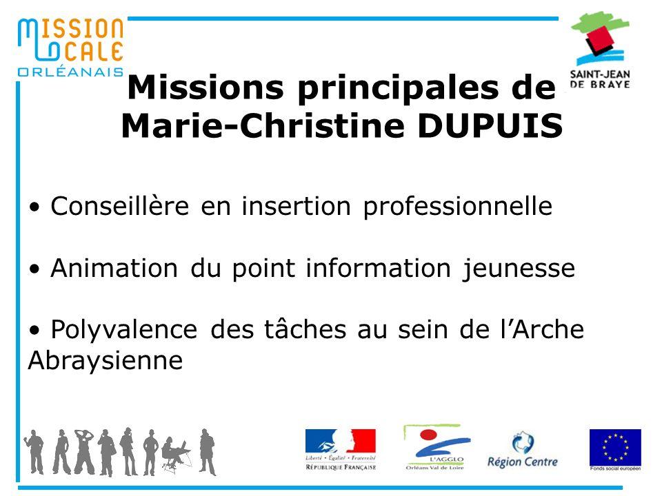 Missions principales de Marie-Christine DUPUIS