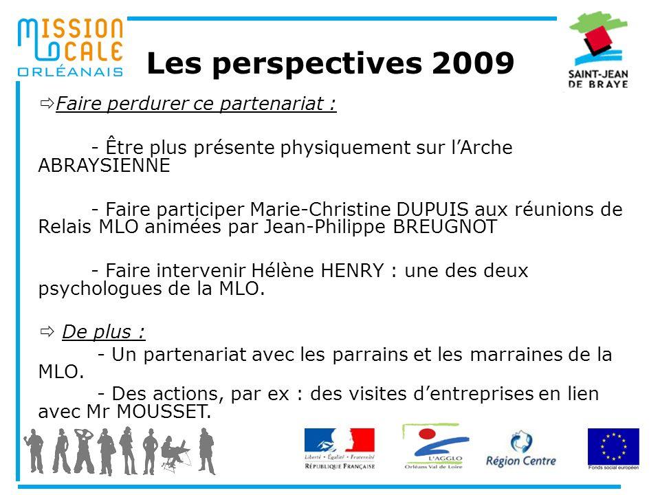 Les perspectives 2009 Faire perdurer ce partenariat :
