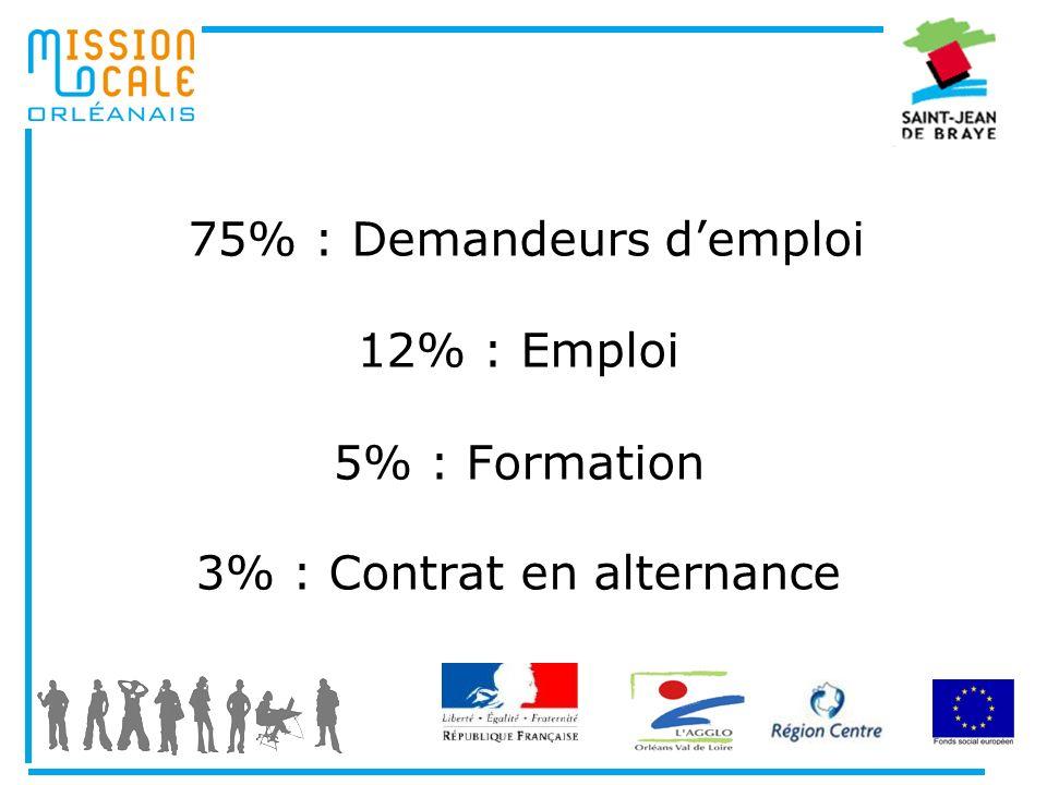 75% : Demandeurs d'emploi 12% : Emploi 5% : Formation 3% : Contrat en alternance
