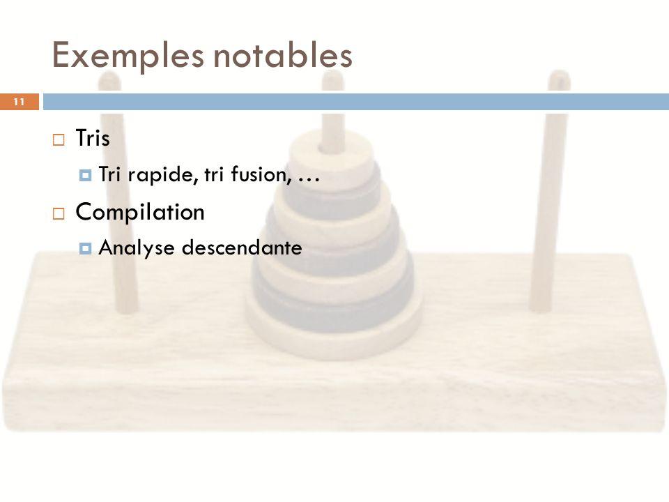 Exemples notables Tris Compilation Tri rapide, tri fusion, …