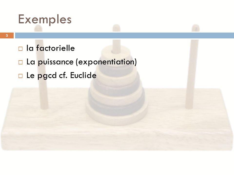 Exemples la factorielle La puissance (exponentiation)