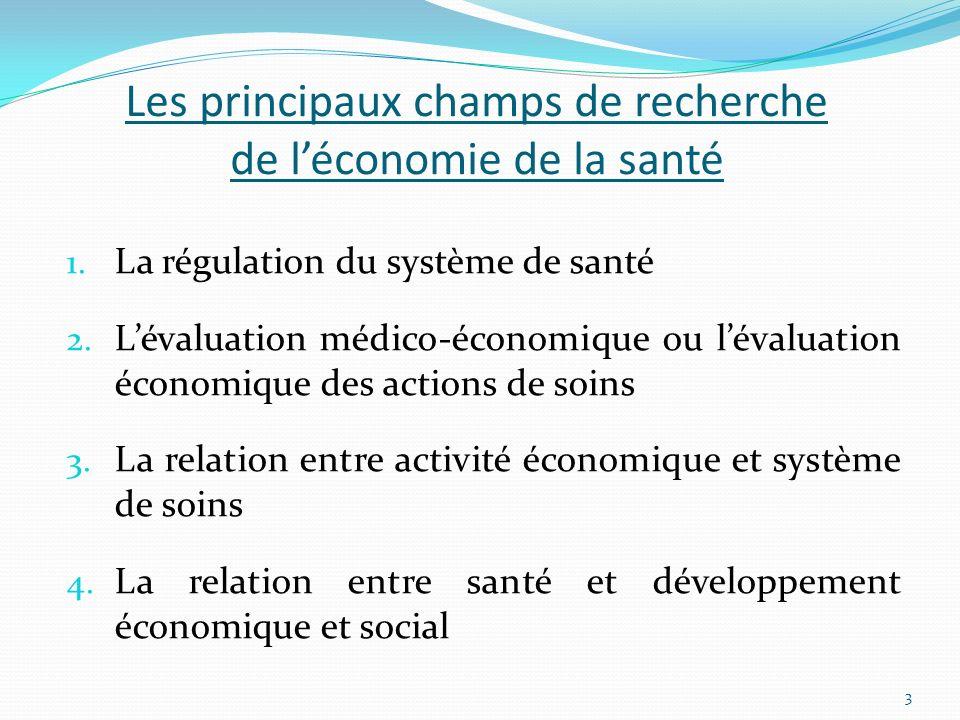 Les principaux champs de recherche de l'économie de la santé