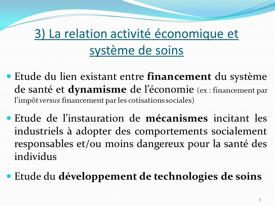 3) La relation activité économique et système de soins
