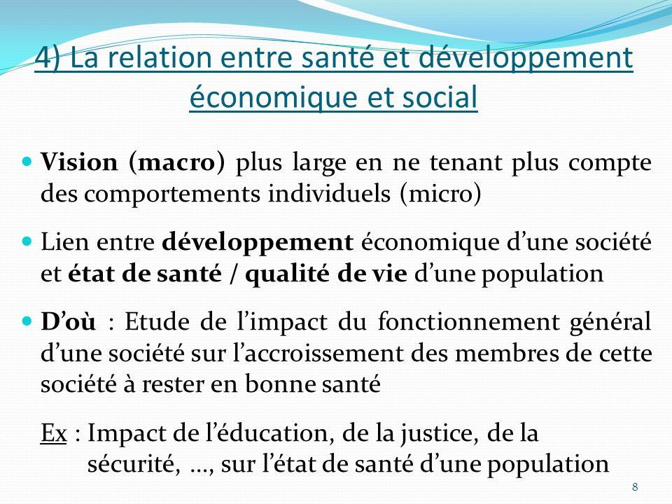 4) La relation entre santé et développement économique et social